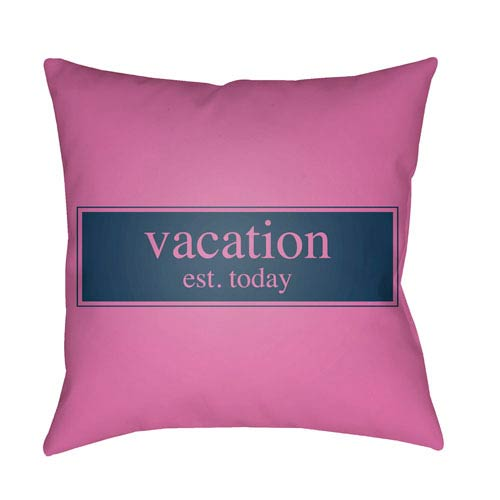 Litchfield Vacation Fuchsia and Navy Blue 16 x 16 In. Pillow with Poly Fill