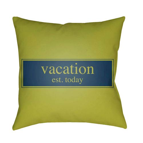 Artistic Weavers Litchfield Vacation Lime Green and Navy Blue 16 x 16 In. Pillow with Poly Fill