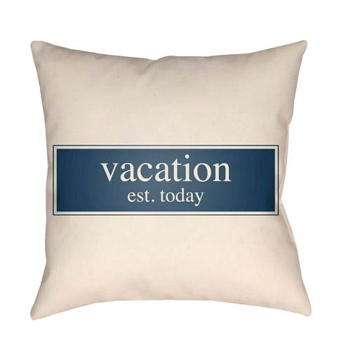 Litchfield Vacation Navy Blue and Ivory 26 x 26 In. Pillow with Poly Fill