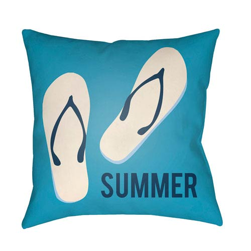 Artistic Weavers Litchfield Summer Aqua and Navy Blue 20 x 20 In. Pillow with Poly Fill