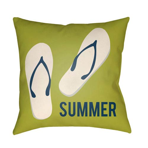 Artistic Weavers Litchfield Summer Lime Green and Navy Blue 20 x 20 In. Pillow with Poly Fill