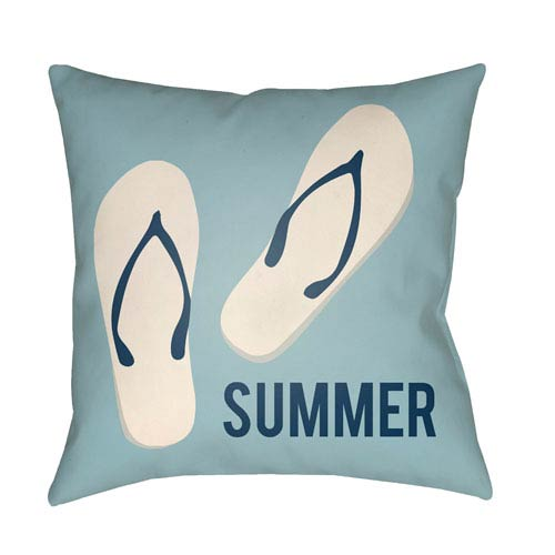 Artistic Weavers Litchfield Summer Light Blue and Ivory 26 x 26 In. Pillow with Poly Fill