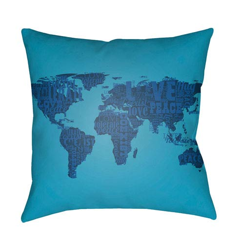 Artistic Weavers Litchfield Global Aqua and Navy Blue 16 x 16 In. Pillow with Poly Fill