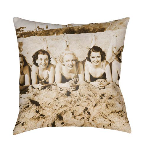 Artistic Weavers Litchfield Sandy Sepia 18 x 18 In. Pillow with Poly Fill