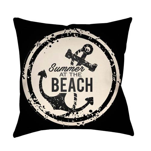 Litchfield Anchor Onyx Black and Ivory 20 x 20 In. Pillow with Poly Fill