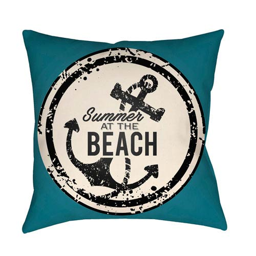 Artistic Weavers Litchfield Anchor Teal and Ivory 18 x 18 In. Pillow with Poly Fill