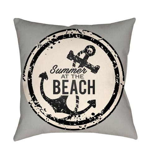 Artistic Weavers Litchfield Anchor Gray and Ivory 18 x 18 In. Pillow with Poly Fill