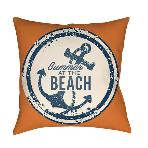 Artistic Weavers Litchfield Anchor Bright Orange and Ivory 18 x 18 In. Pillow with Poly Fill