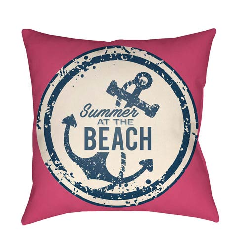 Litchfield Anchor Hot Pink and Ivory 26 x 26 In. Pillow with Poly Fill