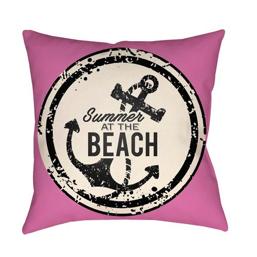 Litchfield Anchor Fuchsia and Ivory 18 x 18 In. Pillow with Poly Fill