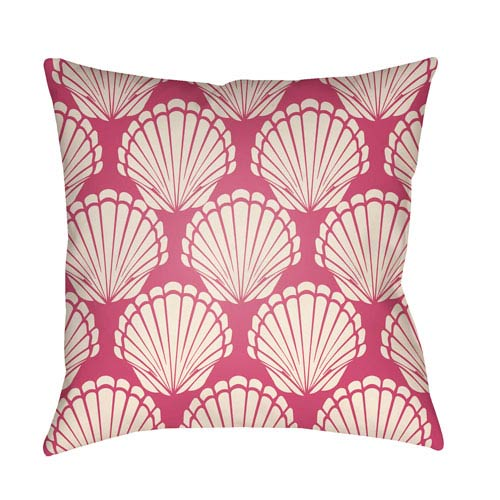 Artistic Weavers Litchfield Shell Hot Pink and Ivory 22 x 22 In. Pillow with Poly Fill