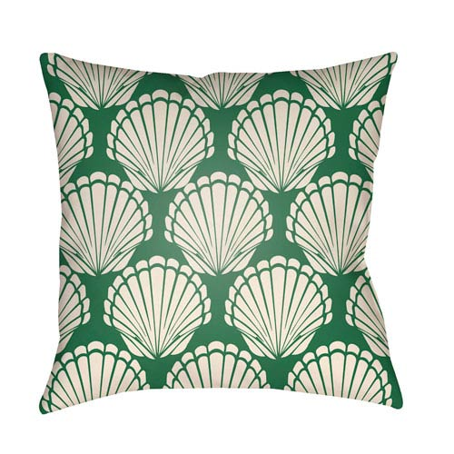 Artistic Weavers Litchfield Shell Kelly Green and Ivory 18 x 18 In. Pillow with Poly Fill