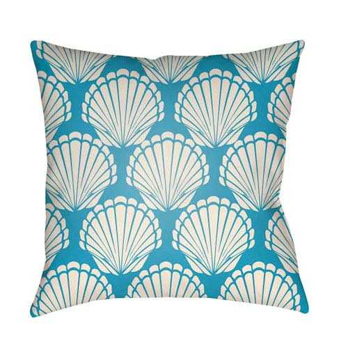 Artistic Weavers Litchfield Shell Aqua and Ivory 18 x 18 In. Pillow with Poly Fill