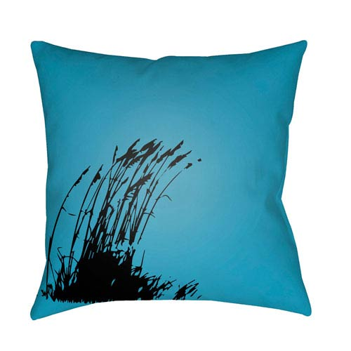 Artistic Weavers Litchfield Wind Aqua and Onyx Black 16 x 16 In. Pillow with Poly Fill