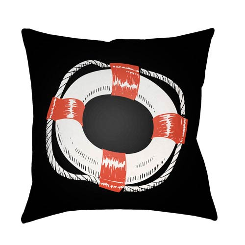 Artistic Weavers Litchfield Life Saver Poppy Red and Onyx Black 22 x 22 In. Pillow with Poly Fill
