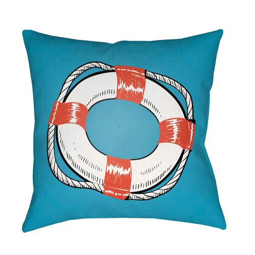 Artistic Weavers Litchfield Life Saver Poppy Red and Onyx Black 16 x 16 In. Pillow with Poly Fill