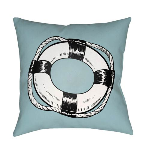 Artistic Weavers Litchfield Life Saver Light Blue and Onyx Black 16 x 16 In. Pillow with Poly Fill