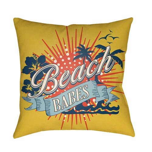 Artistic Weavers Litchfield Beachy Bright Yellow and Poppy Red 22 x 22 In. Pillow with Poly Fill