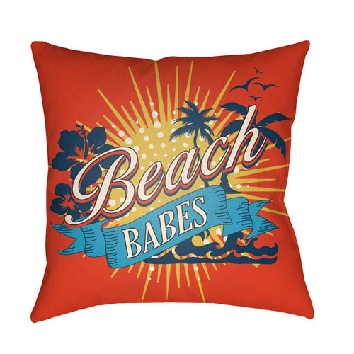Artistic Weavers Litchfield Beachy Poppy Red and Aqua 20 x 20 In. Pillow with Poly Fill