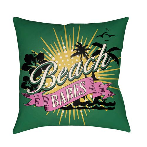 Artistic Weavers Litchfield Beachy Kelly Green and Fuchsia 26 x 26 In. Pillow with Poly Fill