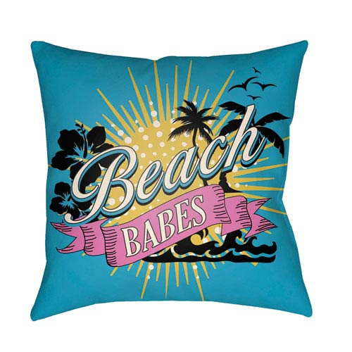 Artistic Weavers Litchfield Beachy Aqua and Onyx Black 22 x 22 In. Pillow with Poly Fill