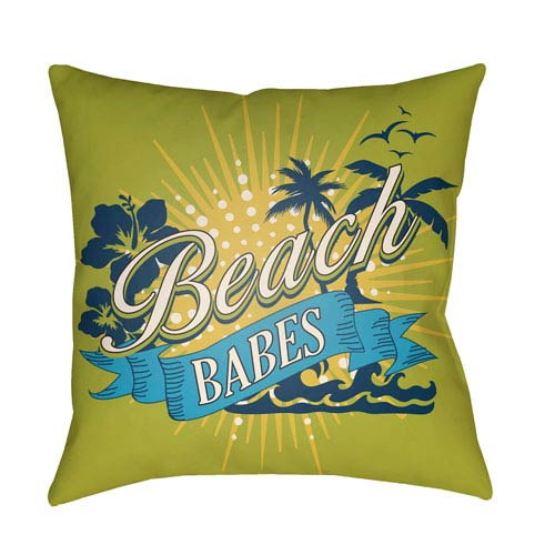 Artistic Weavers Litchfield Beachy Lime Green and Aqua 22 x 22 In. Pillow with Poly Fill