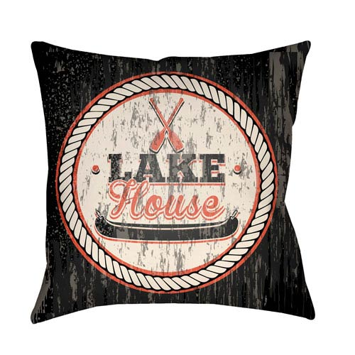Artistic Weavers Litchfield Lake Onyx Black and Poppy Red 20 x 20 In. Pillow with Poly Fill