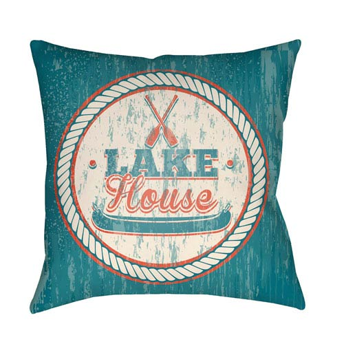 Artistic Weavers Litchfield Lake Teal and Poppy Red 26 x 26 In. Pillow with Poly Fill