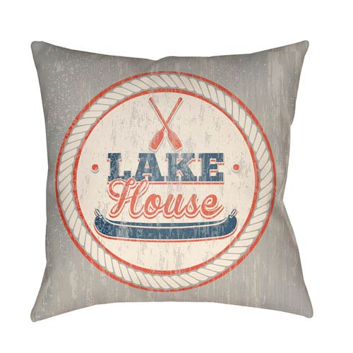 Litchfield Lake Gray and Poppy Red 20 x 20 In. Pillow with Poly Fill