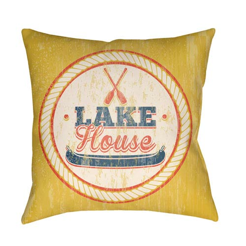 Artistic Weavers Litchfield Lake Navy Blue and Poppy Red 26 x 26 In. Pillow with Poly Fill