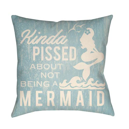 Artistic Weavers Litchfield Mermaid Light Blue and Ivory 16 x 16 In. Pillow with Poly Fill