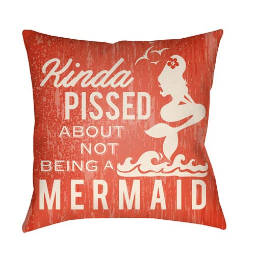 Litchfield Mermaid Poppy Red and Aqua 18 x 18 In. Pillow with Poly Fill