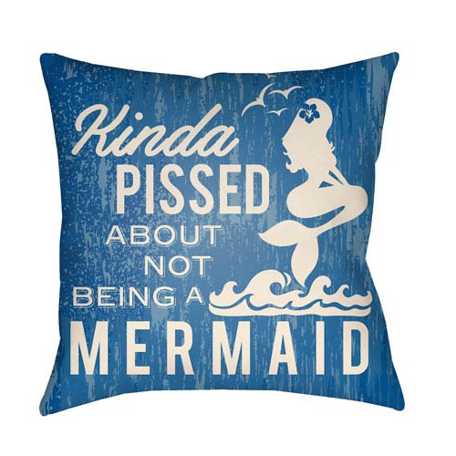 Artistic Weavers Litchfield Mermaid Royal Blue and Ivory 16 x 16 In. Pillow with Poly Fill