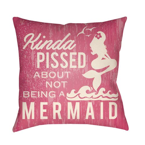 Artistic Weavers Litchfield Mermaid Hot Pink and Ivory 22 x 22 In. Pillow with Poly Fill