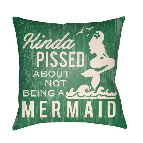 Artistic Weavers Litchfield Mermaid Kelly Green and Ivory 16 x 16 In. Pillow with Poly Fill