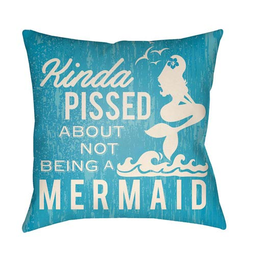 Artistic Weavers Litchfield Mermaid Aqua and Ivory 18 x 18 In. Pillow with Poly Fill