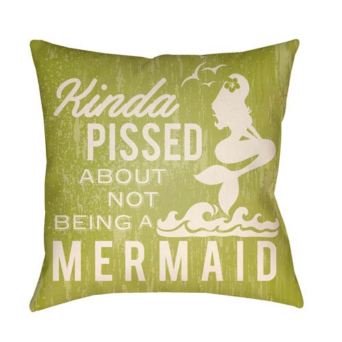 Artistic Weavers Litchfield Mermaid Lime Green and Ivory 26 x 26 In. Pillow with Poly Fill