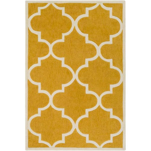 Santorini Nora Gold and Ivory Rectangular: 7 Ft. 6-Inch x 9 Ft. 6-Inch Rug