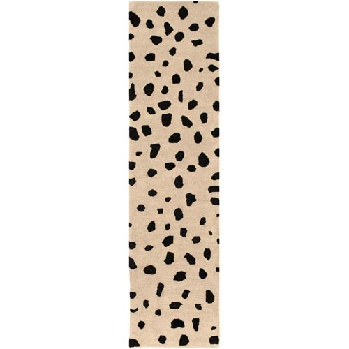 Stella Dalmation Beige and Black Runner: 2 Ft. x 8 Ft.