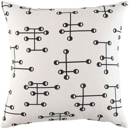 Artistic Weavers Trudy Sallie Onyx Black and Ivory 18 x 18 In. Pillow