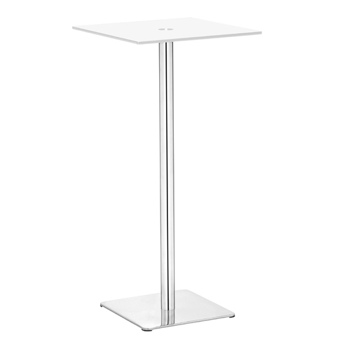 Dimensional White and Polished Stainless Steel Bar Table