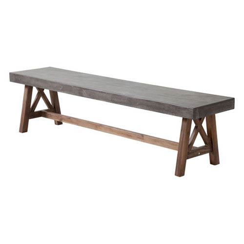 Zuo Modern Contemporary Ford Bench Cement and Natural
