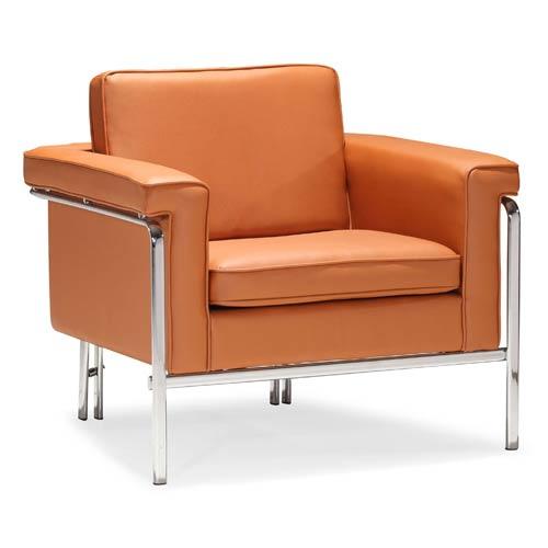 Singular Orange and Chromed Steel Arm Chair