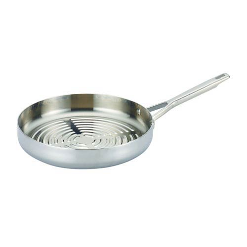 Anolon Tri-Ply Clad Stainless Steel Deep Round Grill Pan, 12-Inch Deep
