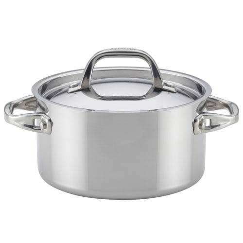 Tri-Ply Clad Stainless Steel 3.5-Quart Covered Saucepot