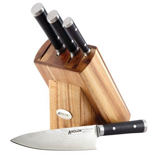 Imperion Damascus Five-Piece Steel Cutlery Knife Block Set