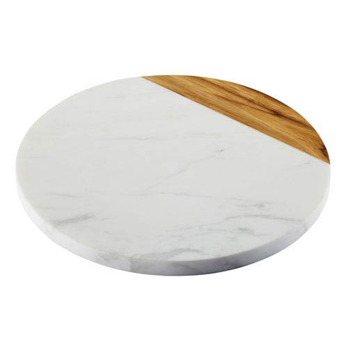 Pantryware White Marble and Teak 10-Inch Wood Serving Board