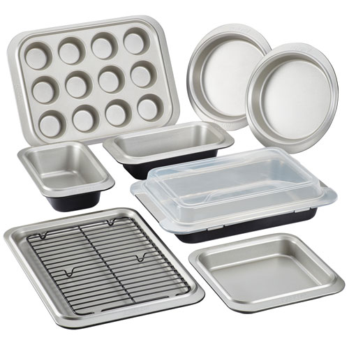 Two-Tone Onyx and Pewter Steel Nonstick Bakeware Ten-Piece Set