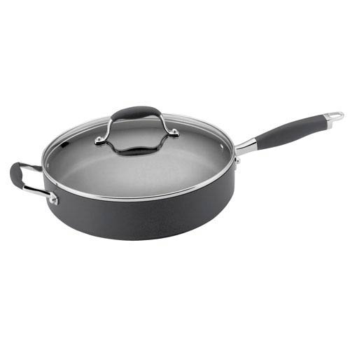 Anolon Advanced Hard-Anodized Nonstick, Gray 5-Quart Covered Saute with Helper Handle