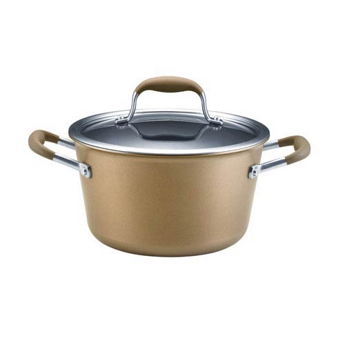 Anolon Advanced Bronze Hard-Anodized Nonstick, 4-1/2-Quart Covered Tapered Stockpot